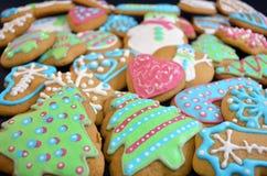 Biscotti casalinghi del pan di zenzero di Natale variopinto Fotografia Stock Libera da Diritti