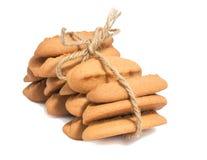 Biscotti casalinghi del pan di zenzero isolati su fondo bianco Fotografia Stock