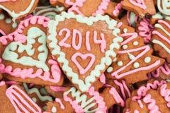 Biscotto casalingo dell'nuovo anno con il numero 2014 Fotografia Stock