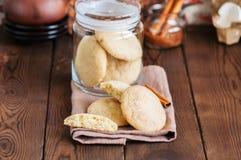 Biscotti casalinghi dello snickerdoodle con le spezie e lo zucchero bruno ruggine Fotografie Stock Libere da Diritti