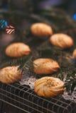 Biscotti casalinghi di Natale in atmosfera di Natale Immagini Stock