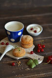 Biscotti casalinghi, latte e ribes Fotografia Stock Libera da Diritti