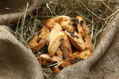 Biscotti with chocolate and almonds. Italian cookies with almonds and chocolate Stock Images