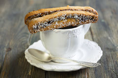 Biscotti with chocolate closeup. Stock Photo