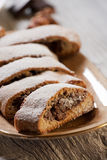Biscotti with chocolate cream Royalty Free Stock Photos