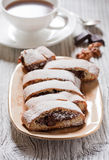 Biscotti with chocolate cream Stock Photography