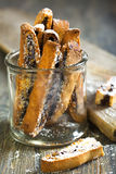 Biscotti with chocolate in a glass jar. Royalty Free Stock Photo