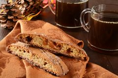 Biscotti and coffee Stock Photos