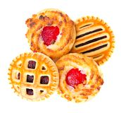 Biscotti con Cherry Jam Isolated su bianco Fotografia Stock