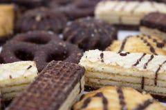Biscotti con cioccolato su un fondo bianco immagini stock libere da diritti