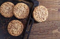 Biscotti con i semi di lino Fotografia Stock