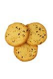 Biscotti con il seme di lino ed il sesamo - oggetto isolato dell'alimento su fondo bianco Fotografia Stock