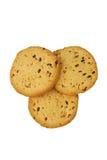 Biscotti con il seme di lino ed il sesamo su un fondo bianco Immagini Stock Libere da Diritti