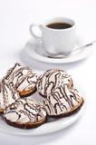 Biscotti con la caramella gommosa e molle ed il caffè Fotografia Stock Libera da Diritti
