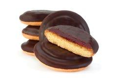 Biscotti con la marmellata d'arance ed il cioccolato della frutta Fotografia Stock