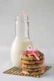 Biscotti con latte e cioccolato Fotografia Stock