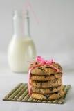Biscotti con latte e cioccolato Immagini Stock