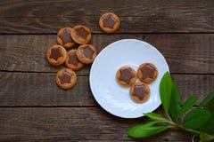 Biscotti con le stelle del cioccolato Fotografie Stock