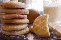 Biscotti con un bicchiere di latte sul vassoio Fotografia Stock