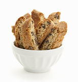Biscotti cookies in bowl. Italian chocolate chip biscotti in bowl on white background stock photography