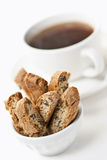 Biscotti cookies and coffee Stock Photography