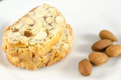 Biscotti cookies. Italian biscotti cookies with almonds royalty free stock photo