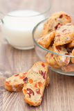 Biscotti with cranderries, apricots and almond Royalty Free Stock Photography