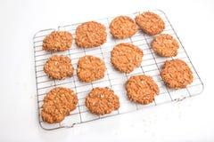 Biscotti croccanti/biscotti dell'avena su uno scaffale di raffreddamento Immagine Stock
