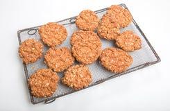 Biscotti croccanti/biscotti dell'avena sugli anni 30 che raffreddano scaffale Immagini Stock Libere da Diritti