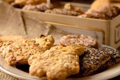 Biscotti croccanti dolci di gusto differente immagine stock libera da diritti
