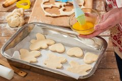 Biscotti crudi in vassoio di cottura, concetto dolce dell'alimento Fotografia Stock