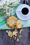 Biscotti and a cup of coffe Stock Photos