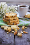 Biscotti and a cup of coffe Stock Image