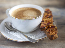 Biscotti and a cup of coffee Royalty Free Stock Photography
