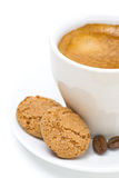 Biscotti and cup of espresso, selective focus, isolated Stock Images