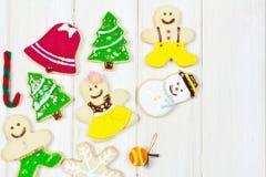 Biscotti decorati con un tema di Natale Immagine Stock