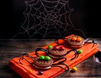 Biscotti decorati del ragno per Halloween Fotografie Stock Libere da Diritti