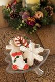 Biscotti decorati di natale Immagine Stock
