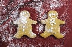 Biscotti degli uomini di pan di zenzero di Natale Immagini Stock