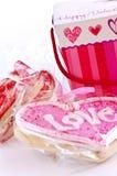 Biscotti dei biglietti di S. Valentino Fotografie Stock Libere da Diritti