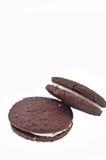 Biscotti del Brown con crema Fotografia Stock Libera da Diritti
