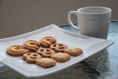 Biscotti del burro con caffè Fotografie Stock