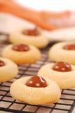 Biscotti del burro di arachide con cioccolato Immagini Stock Libere da Diritti