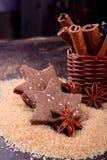 Biscotti del cioccolato di Natale con i semi di sesamo Fotografia Stock Libera da Diritti