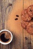 Biscotti del cioccolato e del caffè Immagini Stock