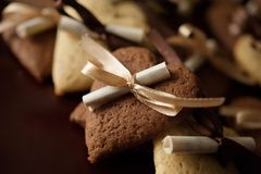 Biscotti del cioccolato e della vaniglia Fotografie Stock