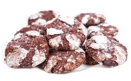 Biscotti del cioccolato isolati su priorità bassa bianca Fotografie Stock Libere da Diritti