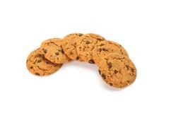 Biscotti del cioccolato su priorità bassa bianca Immagine Stock Libera da Diritti