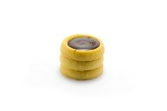 Biscotti del cioccolato su priorità bassa bianca Fotografie Stock Libere da Diritti