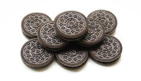 Biscotti del cioccolato sul fondo del whitr Immagini Stock Libere da Diritti